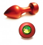 Anal Plug - Red Moon - Swarovski Stone - Green