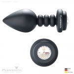 Aluminium Anal Plug - Wave medium black - MADE WITH SWAROVSKI® ELEMENTS